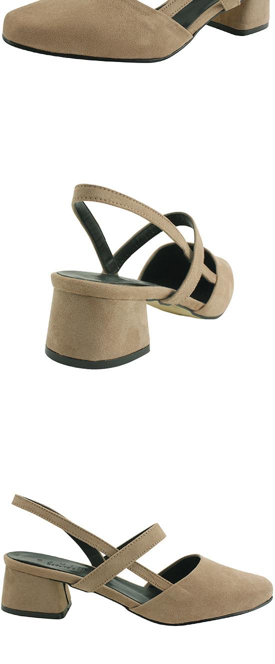 Slingback Strap Whole Heel Middle Heel Beige