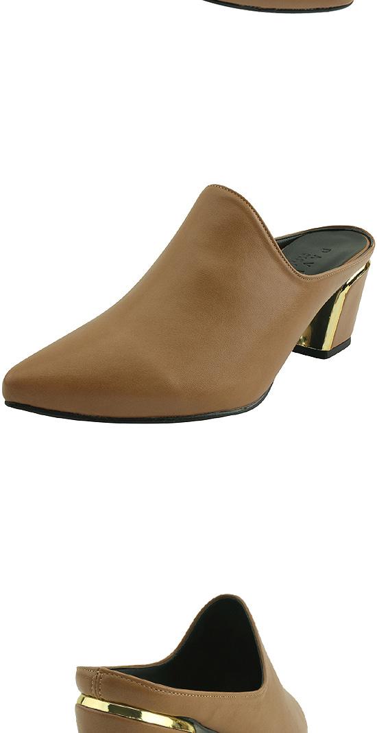 Stiletto heel mules slippers beige