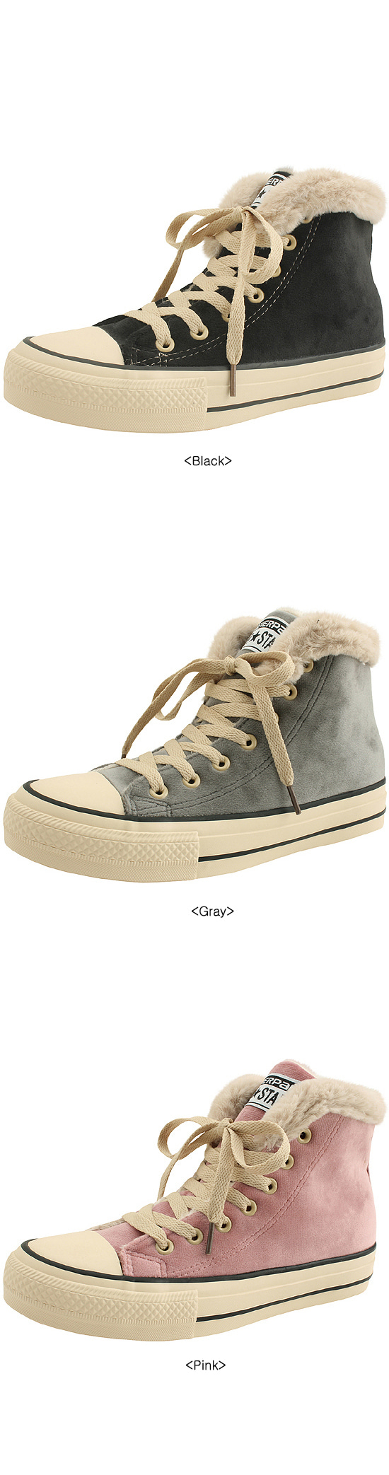 Canvas high-top fur sneakers pink