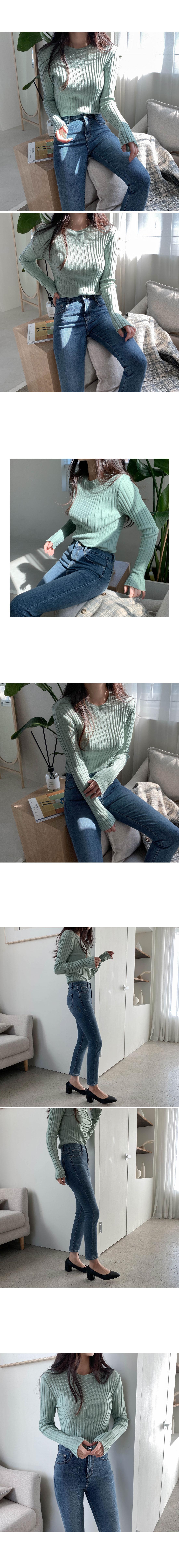 Ribbed rib seulrimpit Knitwear - mint, sending black day