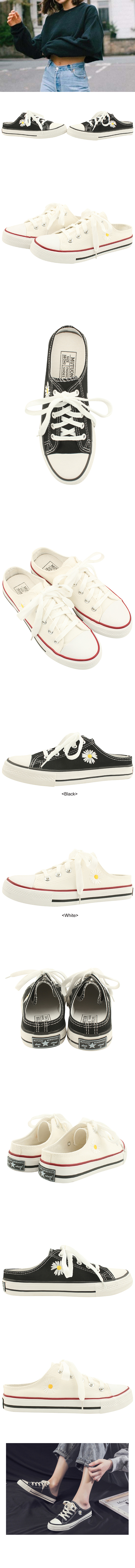 Canvas Flower Embroidered Mule Blower Black