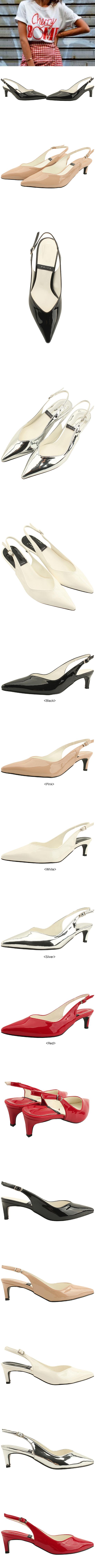 Slingback Enamel Slim Middle Heel White