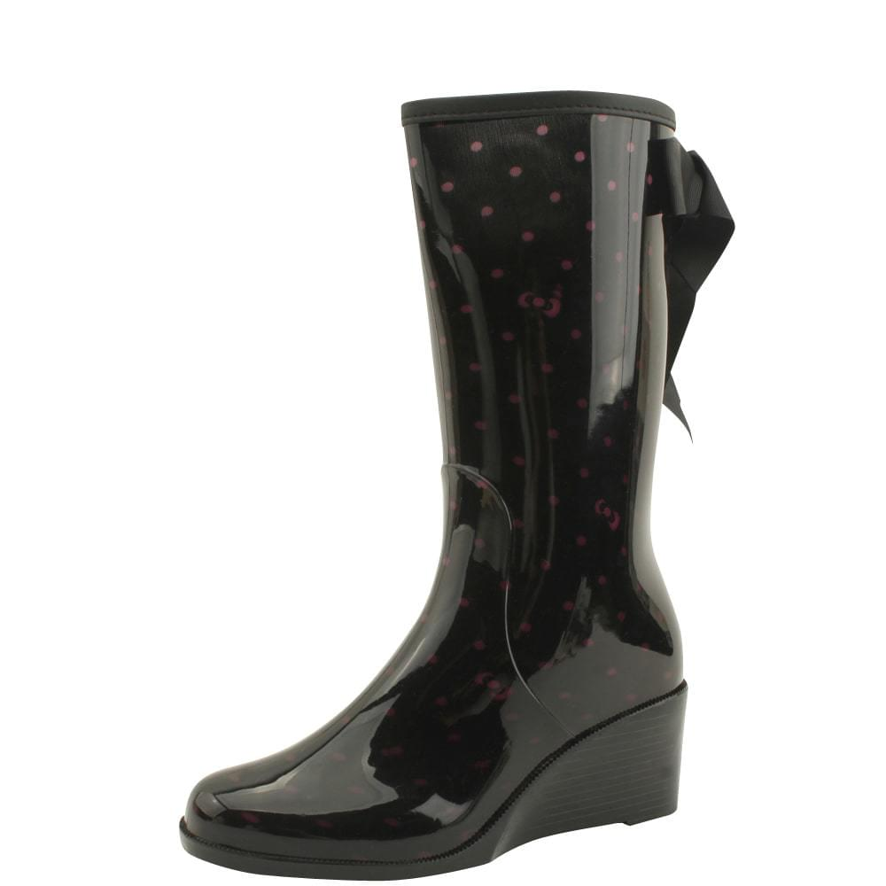 Wedge middle heel rain boots ribbon tote