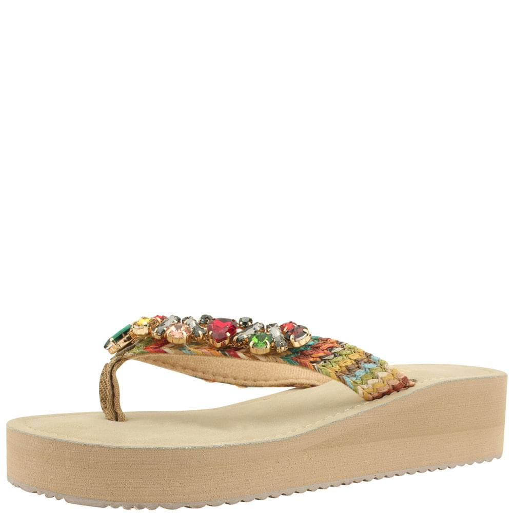 Five-colored jewel split heel slippers beige