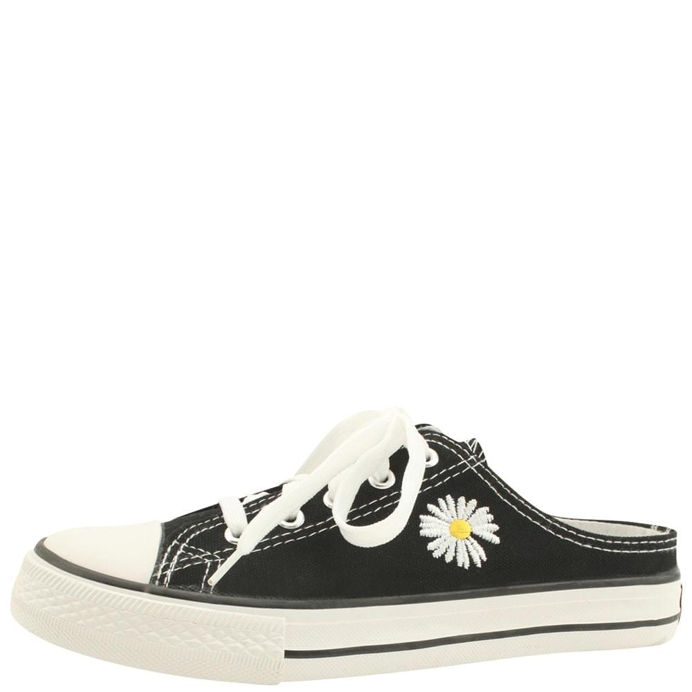 Canvas Flower Embroidered Mule Blower Black ローファー