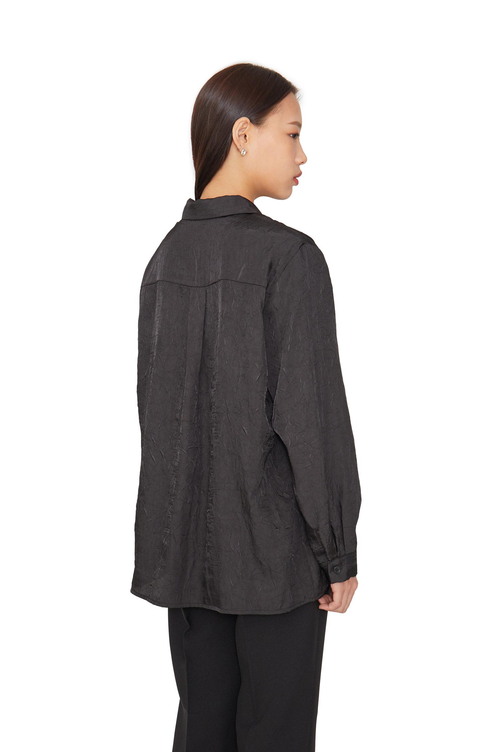 Satin crease textured shirt
