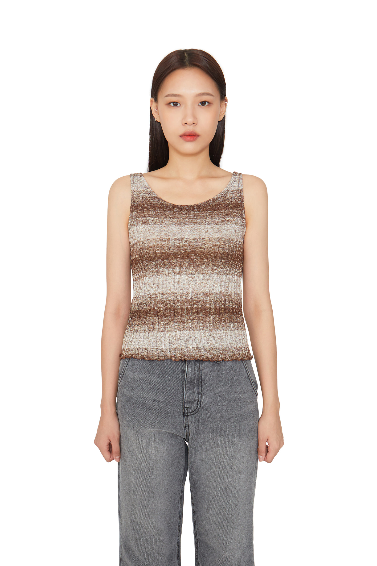 Two block sleeveless knit top
