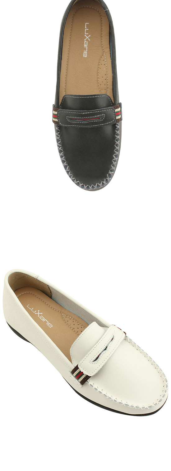 Cowhide 3-wire banding comfort loafers white