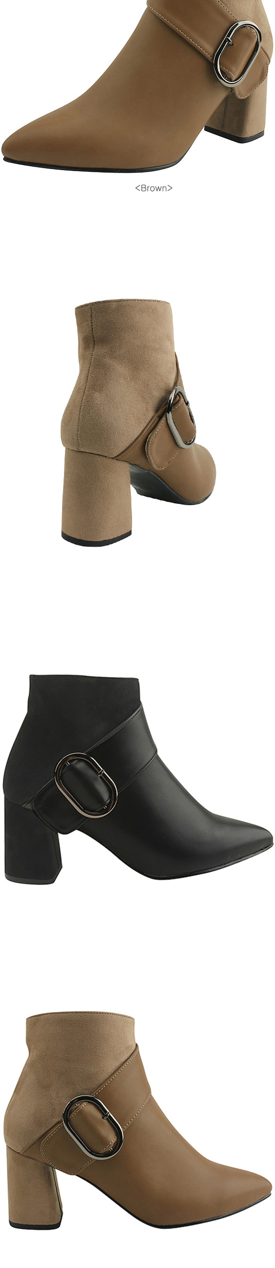Pointed Nose Two-tone High Heel Ankle Boots Brown