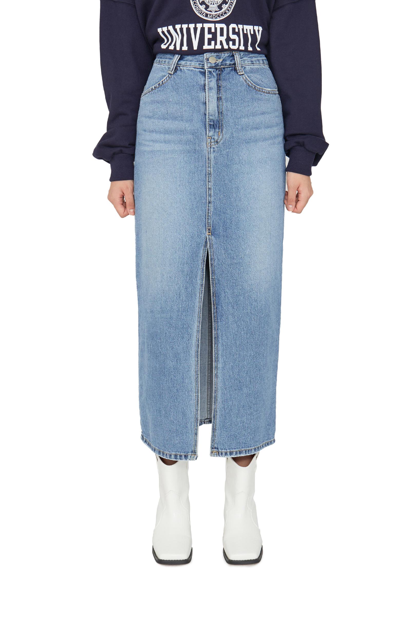 First slit denim maxi skirt