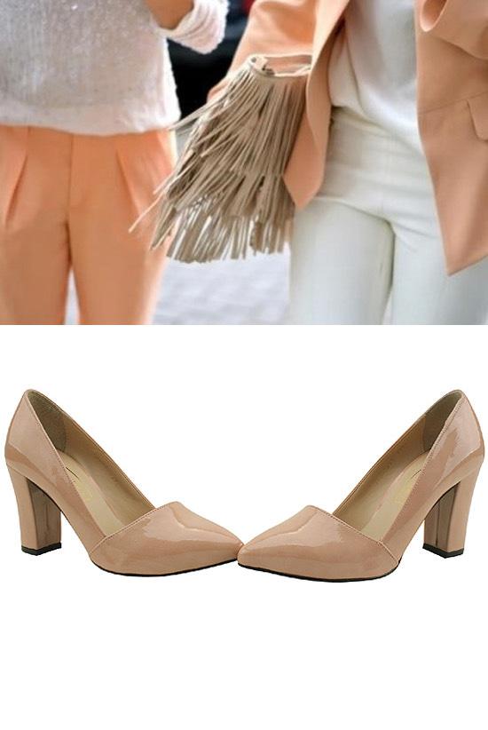 Enamel Stiletto Heel Pink