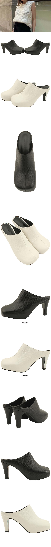 Cowhide Handmade Shoes Mule High Heels 8cm White