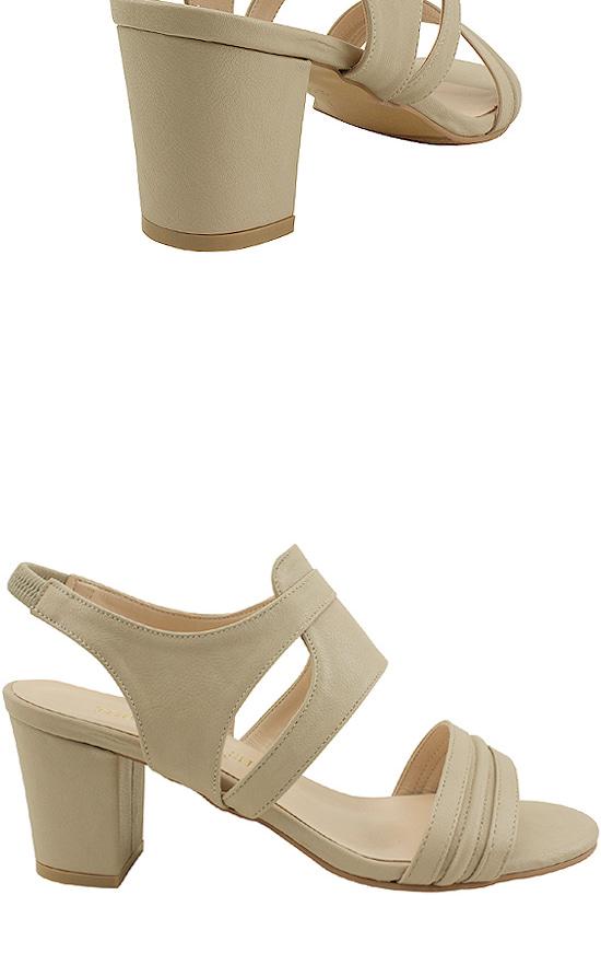 Slingback open middle heel sandals beige