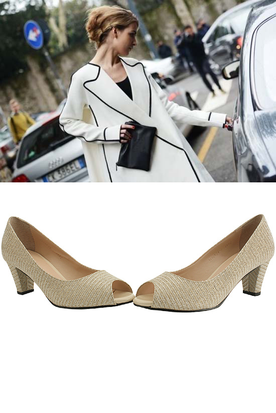 Toe Open Bling Pearl Middle Heel Pumps Gold
