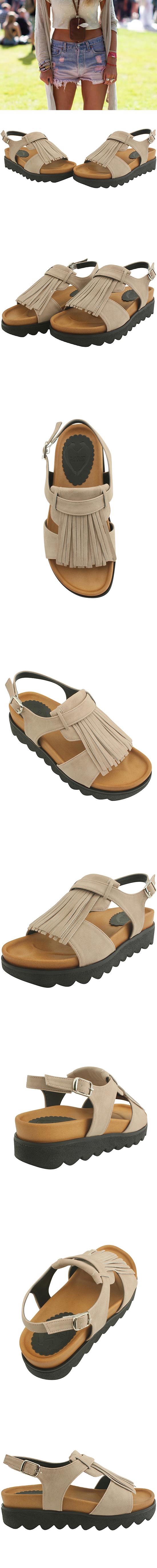 Fringed full-heeled sandals beige
