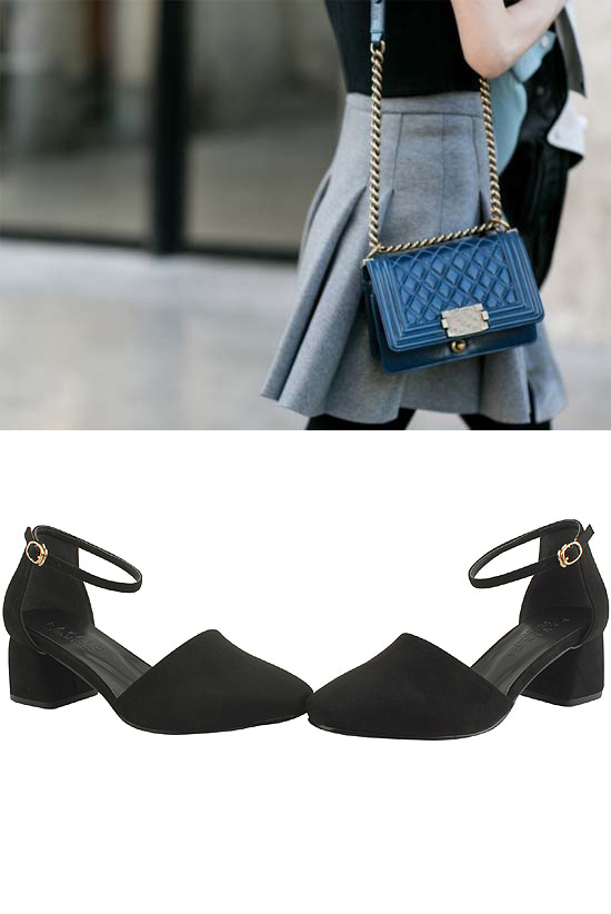 Suede Mary Jane Middle Heel Black
