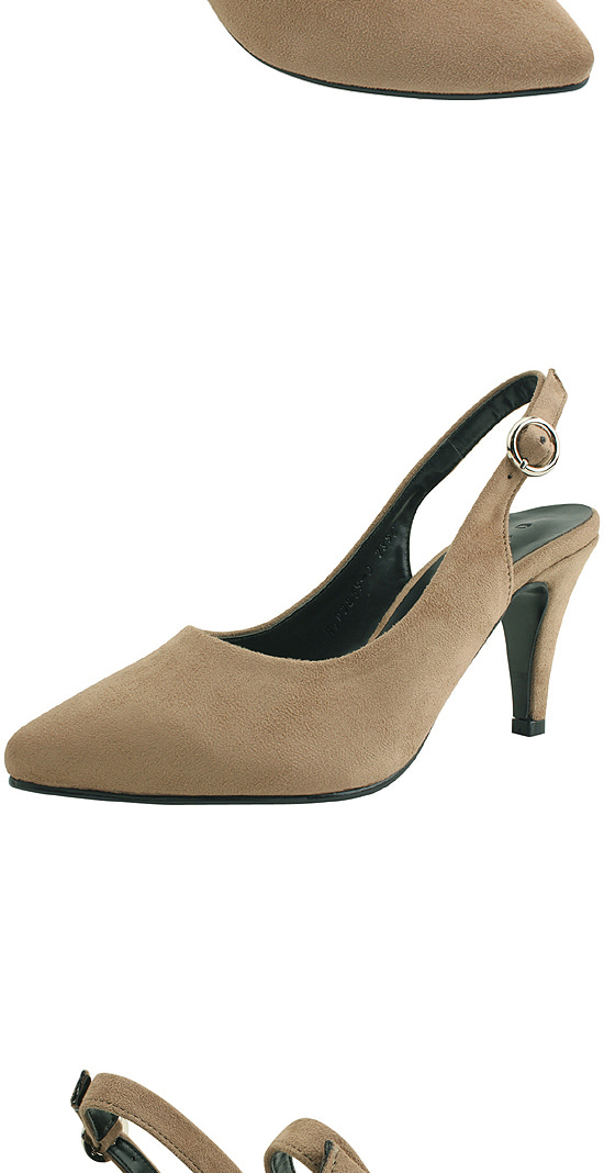 Slingback pointed nose shoes high heels beige
