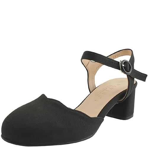 Chunky Strap Open Middle Heel 5cm Black