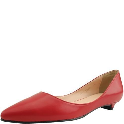 Stiletto low heel flat pumps red
