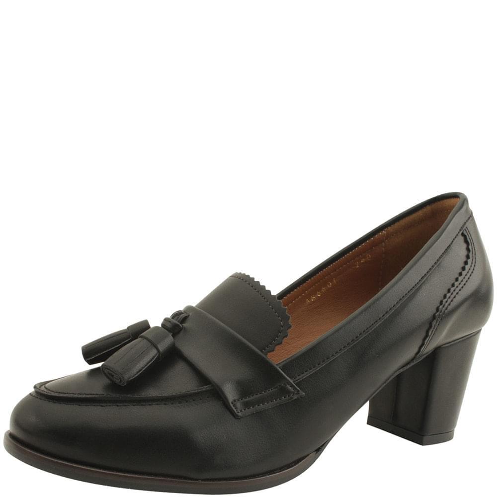 Tassel Middle Heel Loafers 6cm Matte Black
