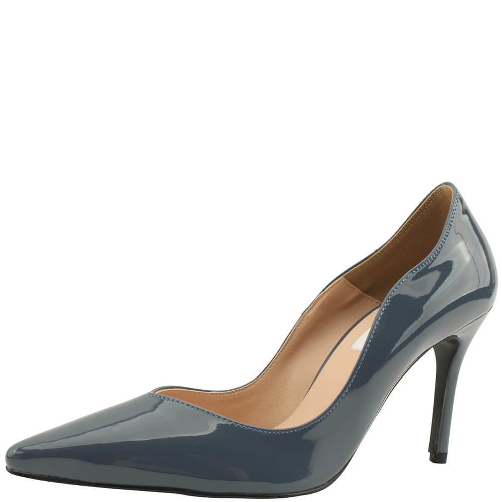 Wavy Stiletto Enamel High Heels Blue