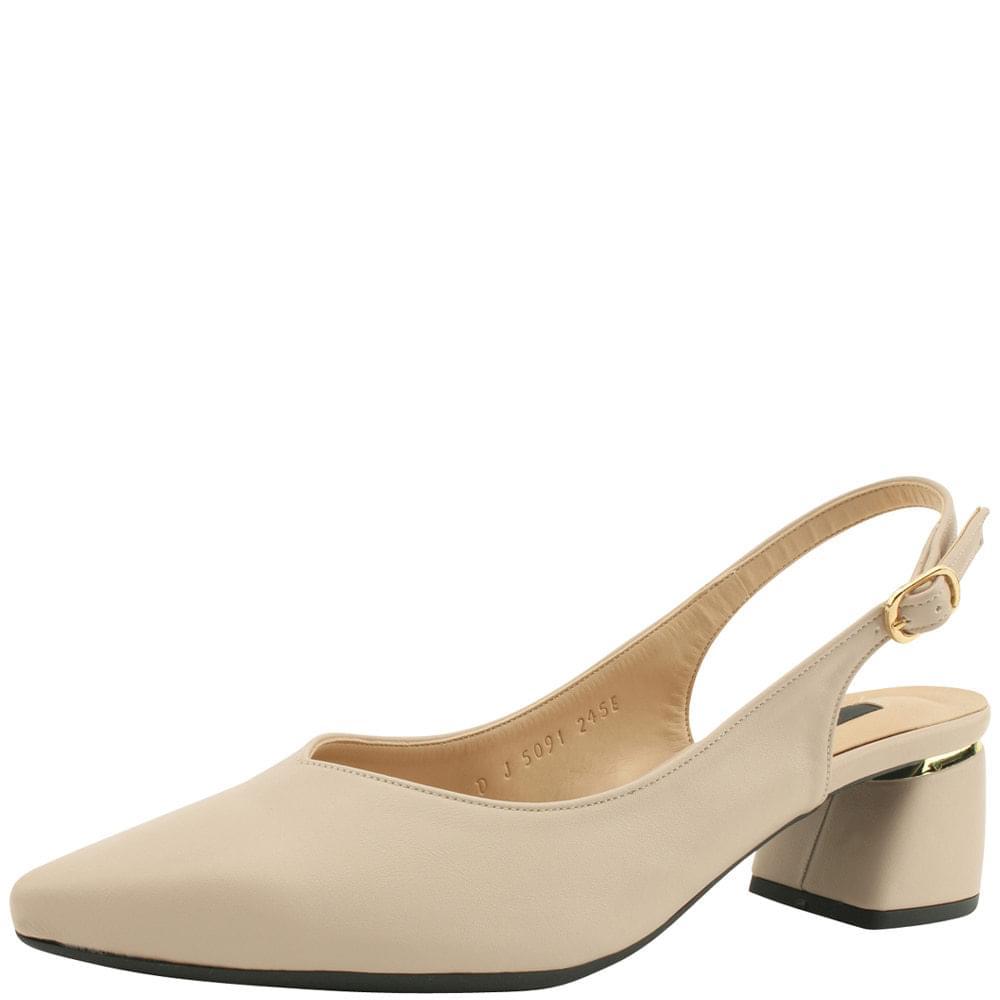 Stiletto Gold Sling Bag Middle Heel Beige