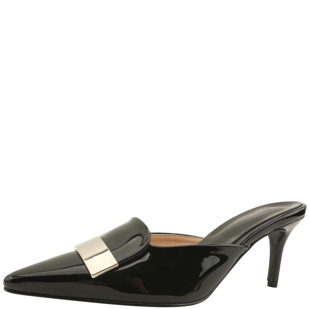 Metal enamel stiletto heel mules black