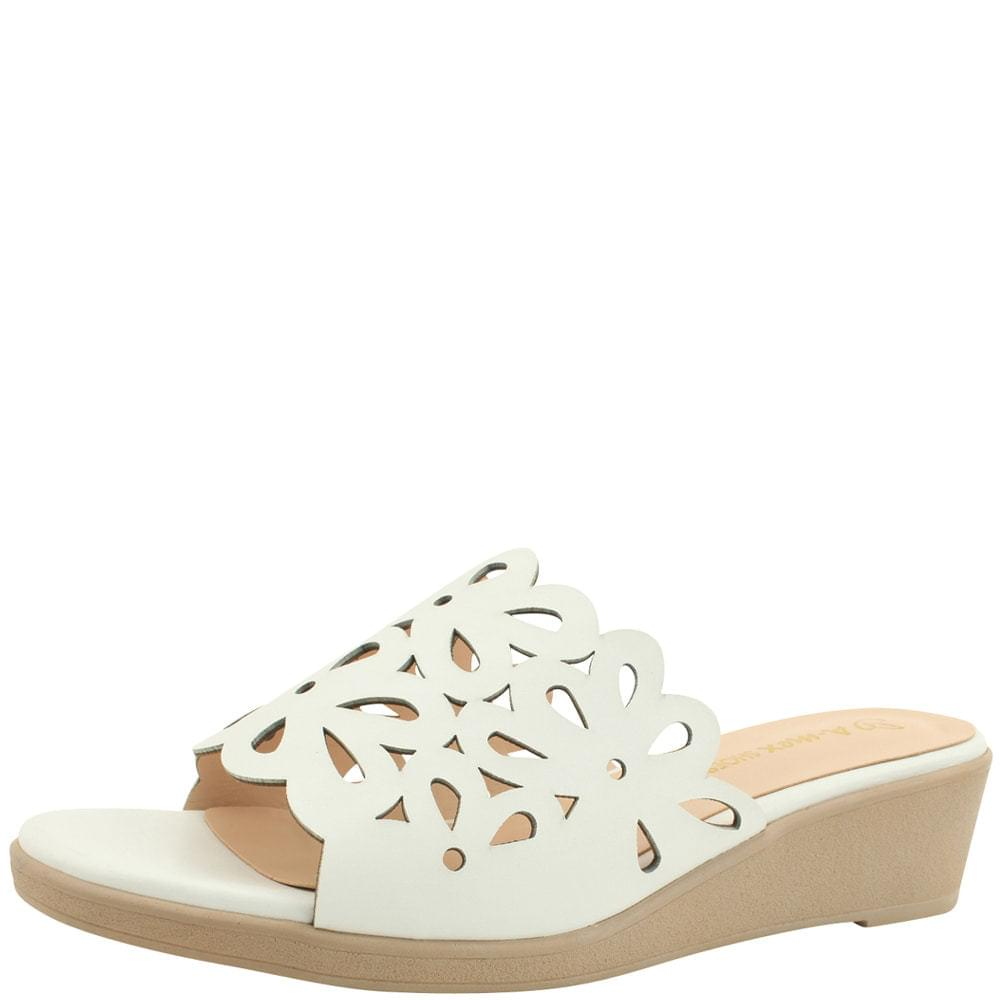 Flower Punching Wedge Middle Heel Slippers White