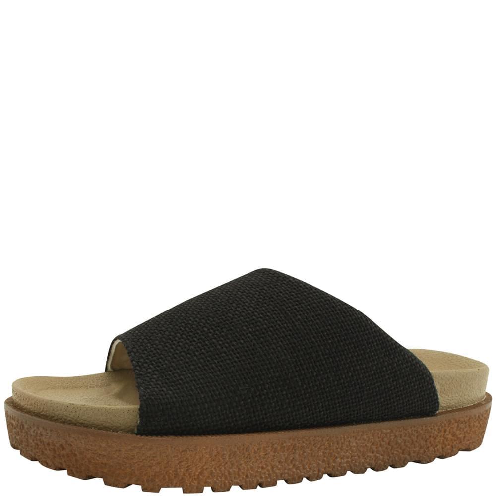 Linen PU Thick Heel Slippers Black