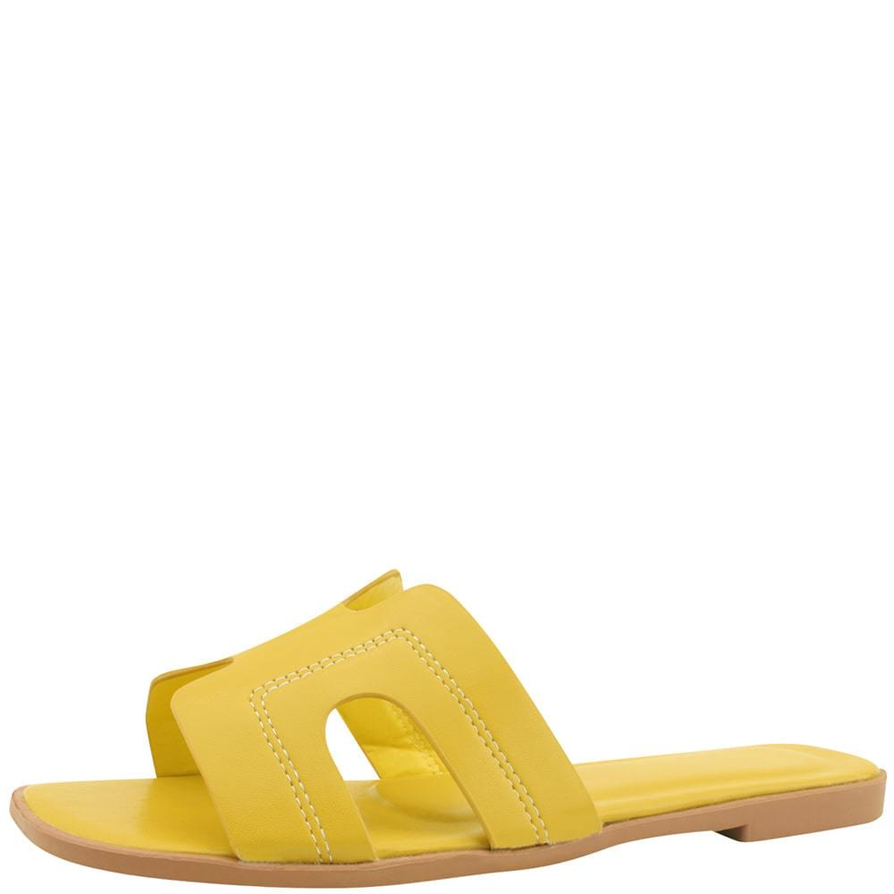 H Stitch Square Toe Flat Slippers Yellow