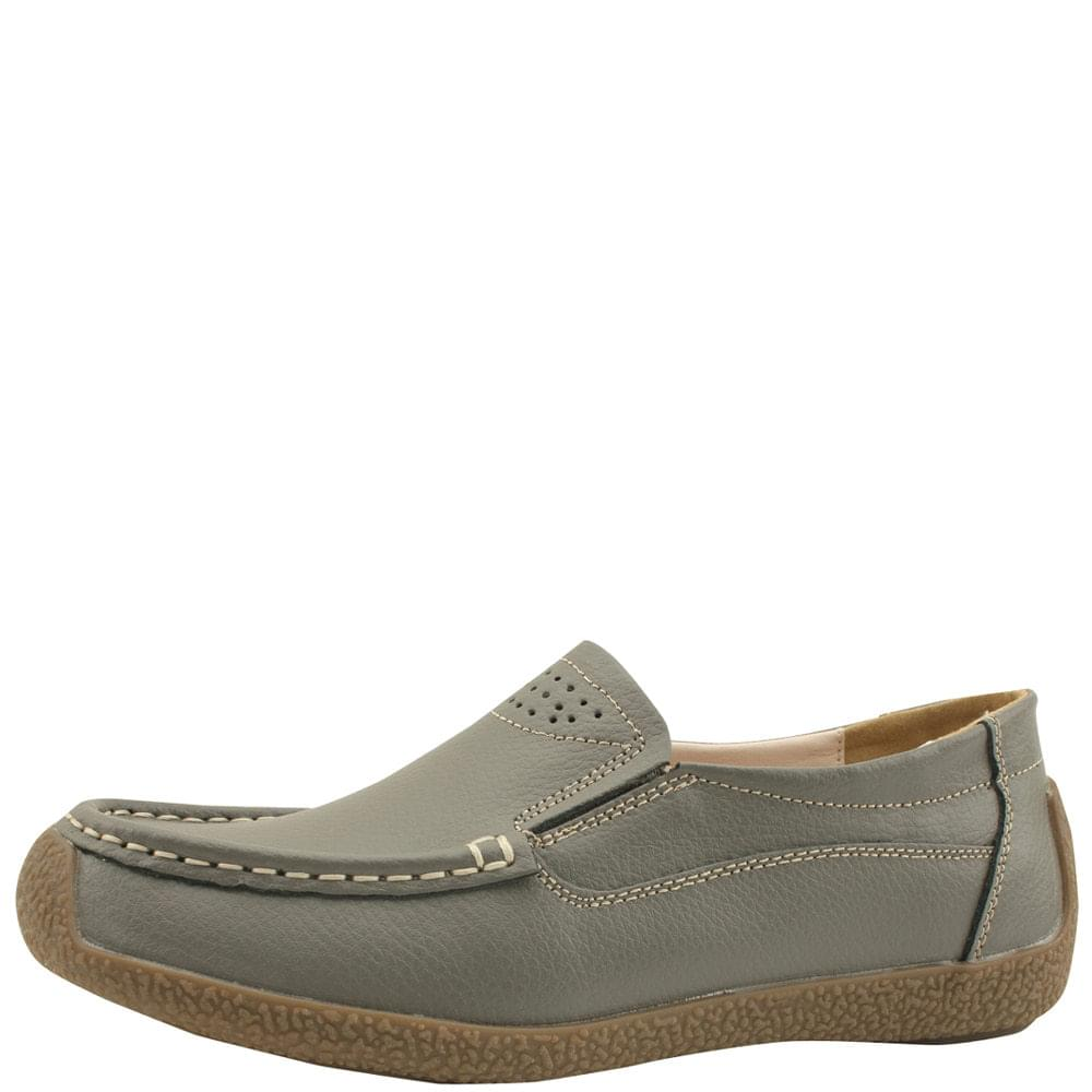 Cowhide Comfort Banding Loafers Gray
