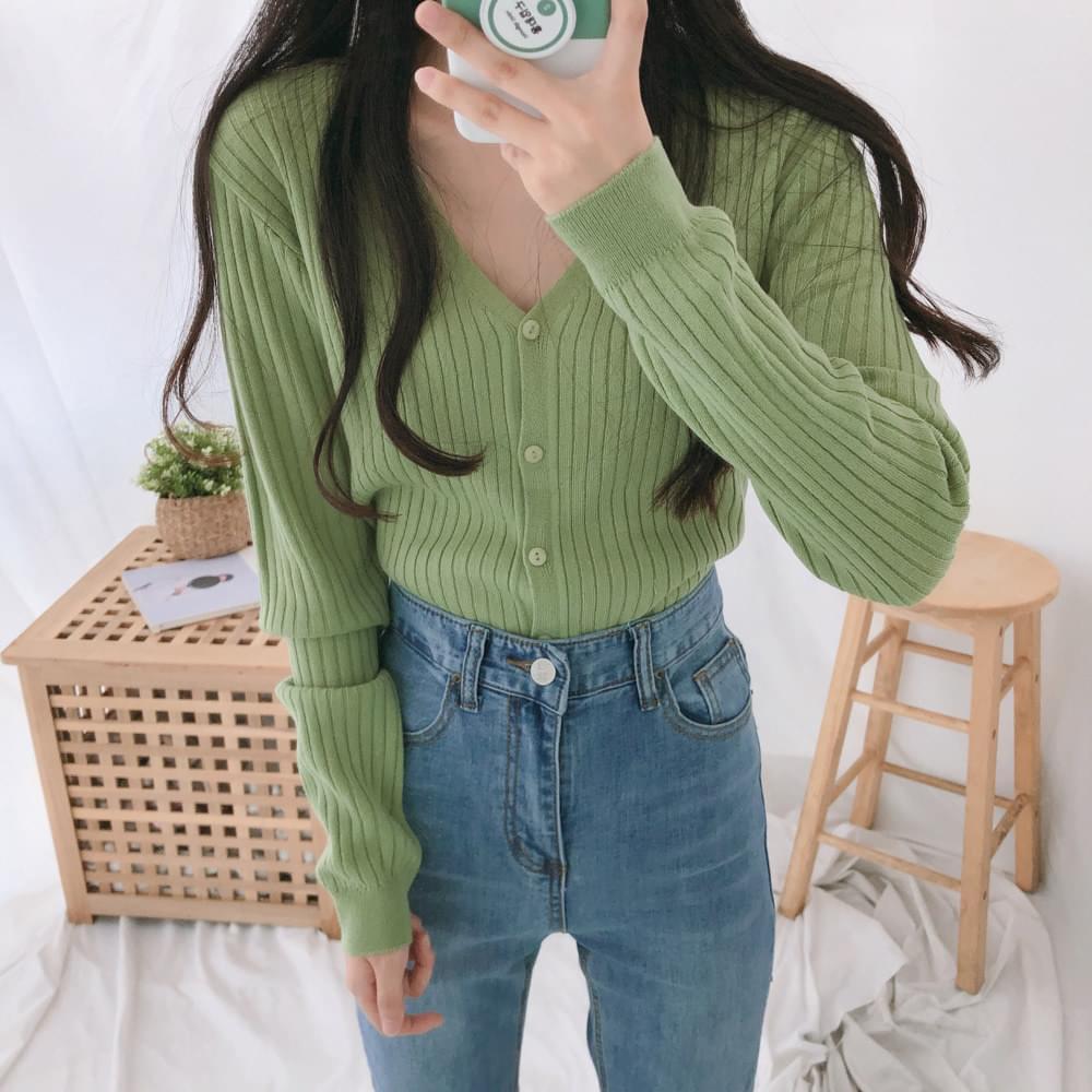 Mocha ribbed-knit cardigan