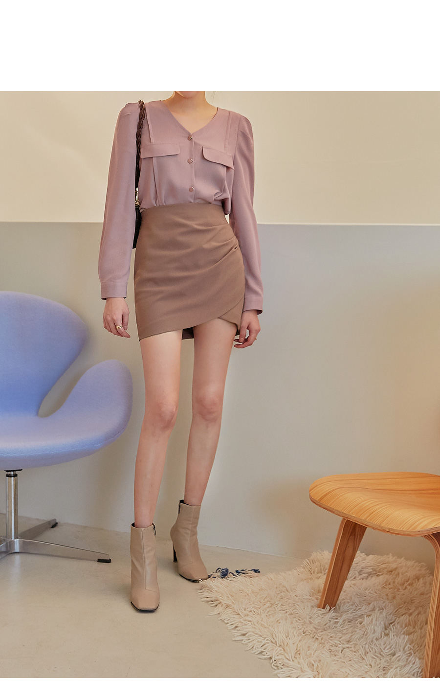 Ruched Side Mini Skirt
