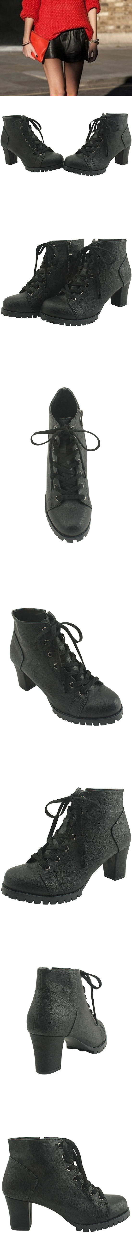 Lace-up walker high heels