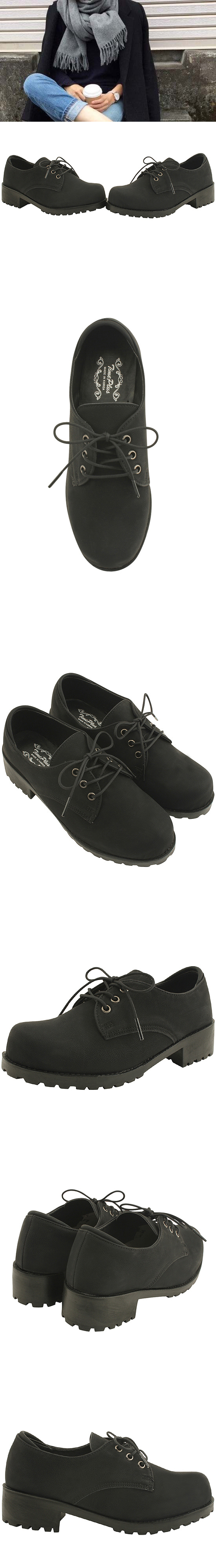 Oxford lace-up full heel loafers 4cm