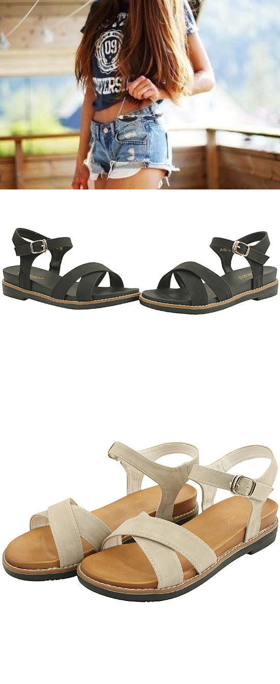 Comfort Cushion X Strap Flat Sandals Black