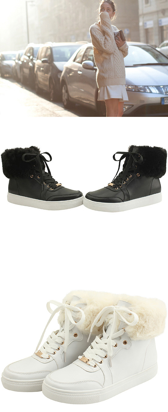 Ankle Fur High Top Winter Sneakers White