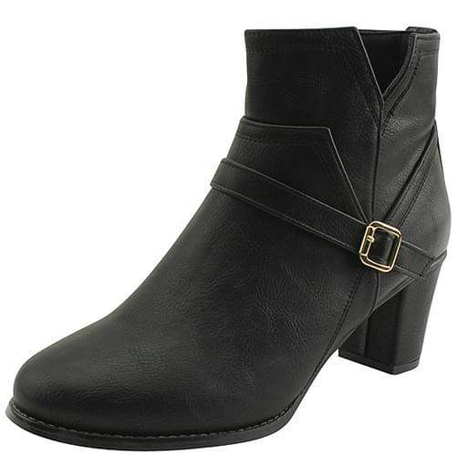 One Belt Middle Heel Ankle Boots Black