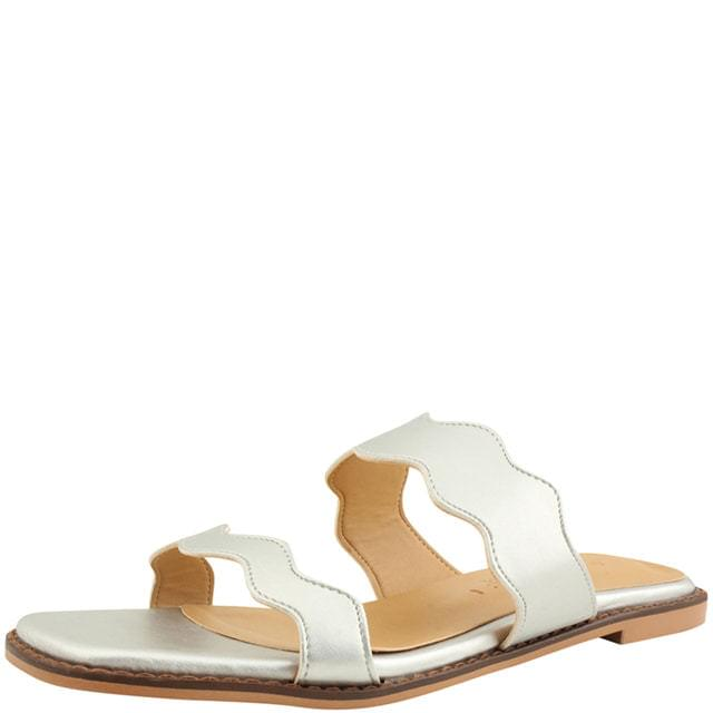 Square Nose Wave Flat Mule Slippers Silver
