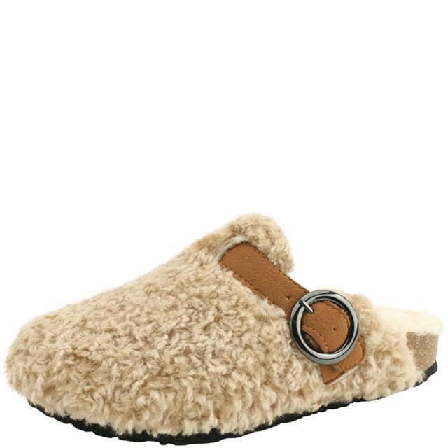 Fleece strap winter slippers beige