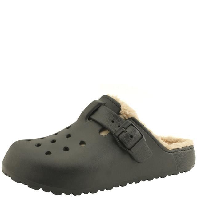 Fleece Couple Comfort Buckle Slippers Black