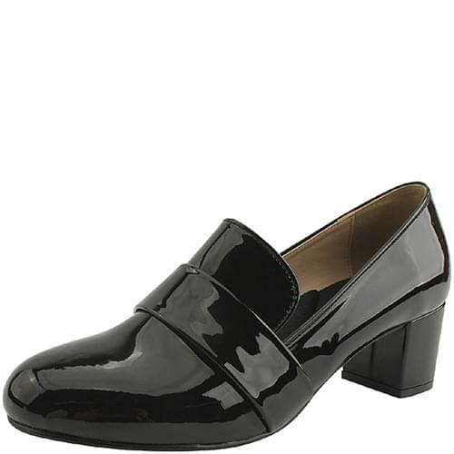 Enamel Shoes Loafer Heels 5cm Black
