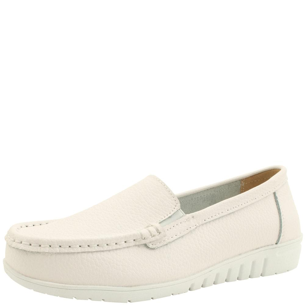 Cowhide Simple Shoes Loafers White