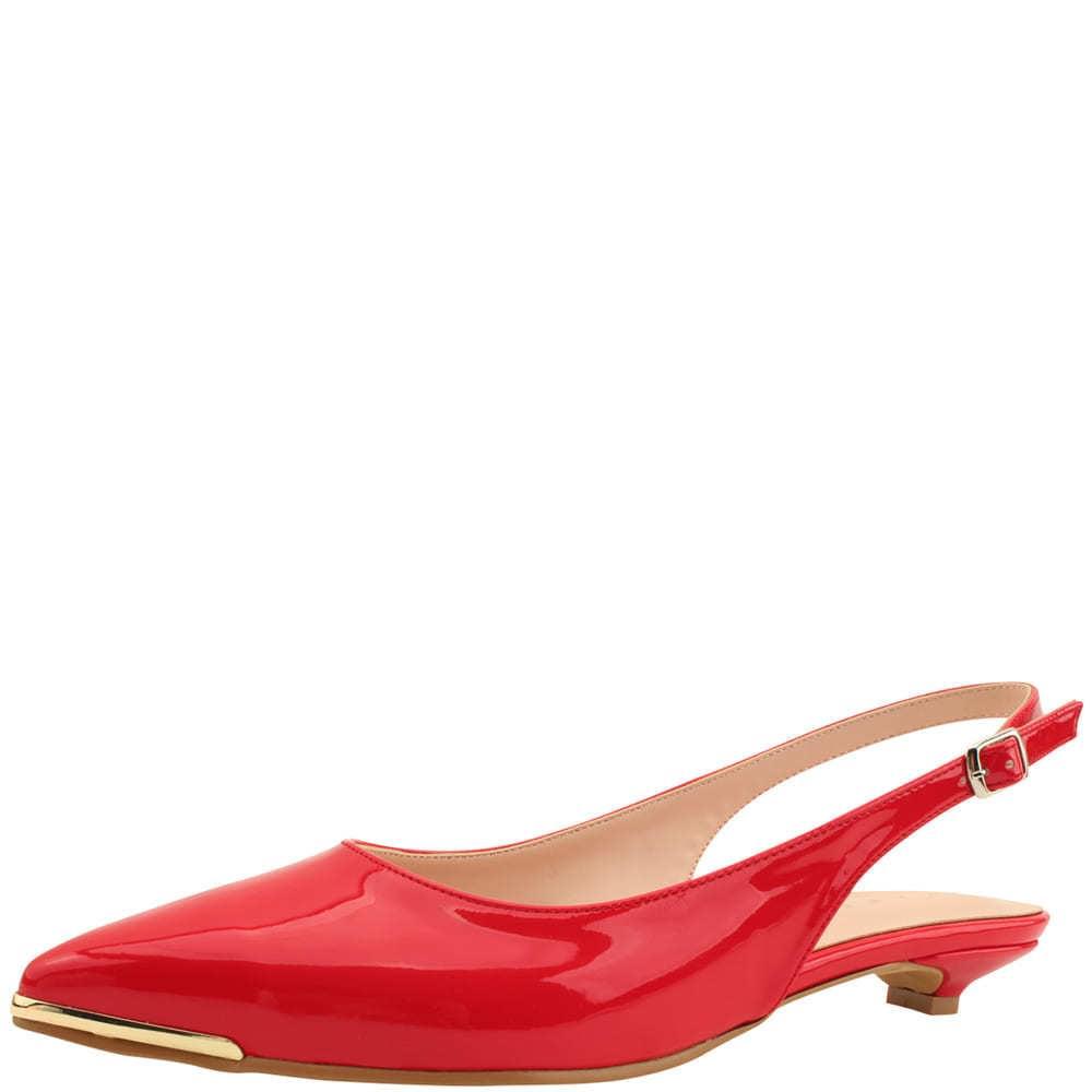 Slingback Enamel Stiletto Low Heel Red