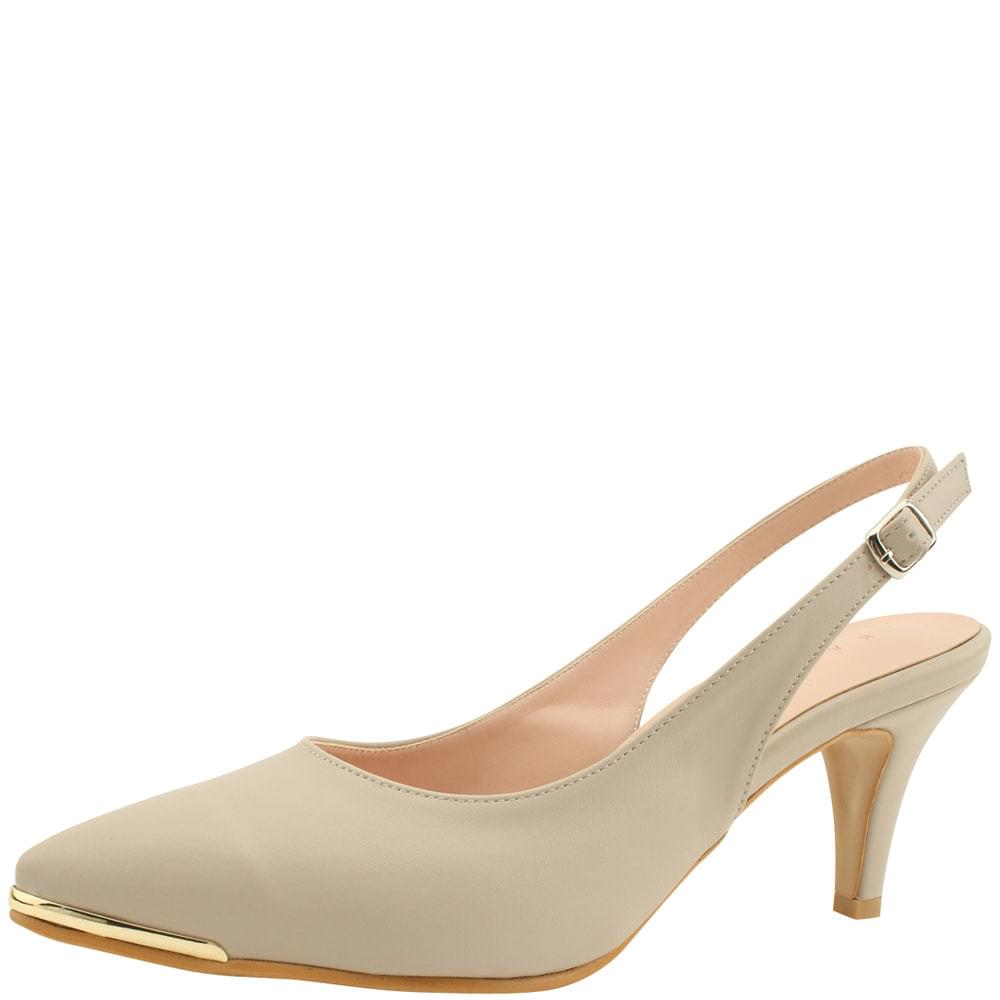 Slingback Metal Stiletto High Heel Beige