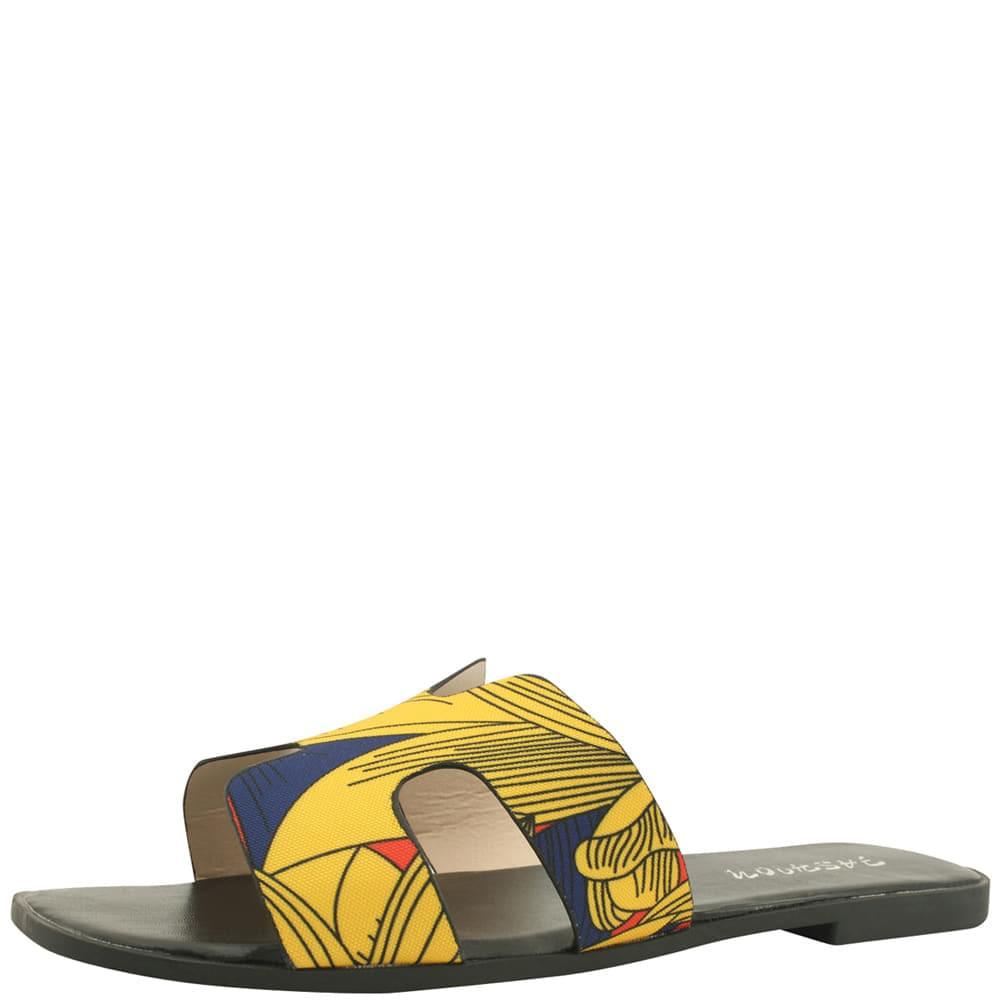 H Feminine Flat Mule Slippers Black Yellow