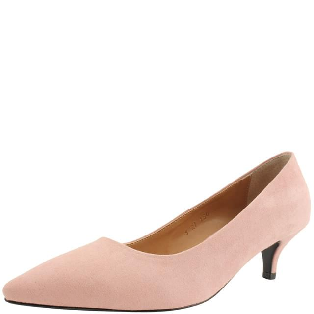 Suede Stiletto Middle Heel 5cm Light Pink