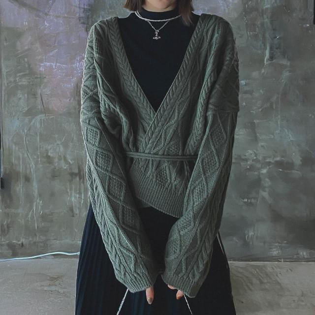 Cable deli wrap cardigan