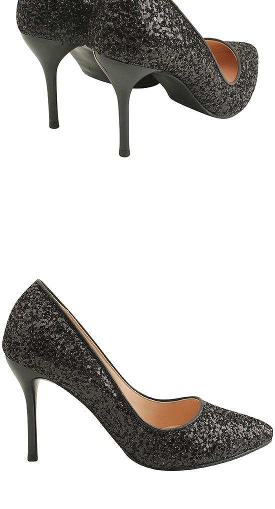 Glitter Stiletto High Heels 9cm Black