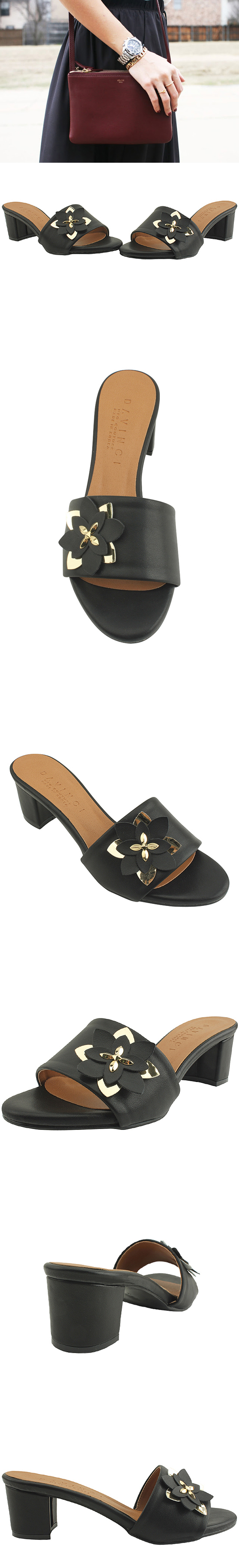 Flower mules slippers black